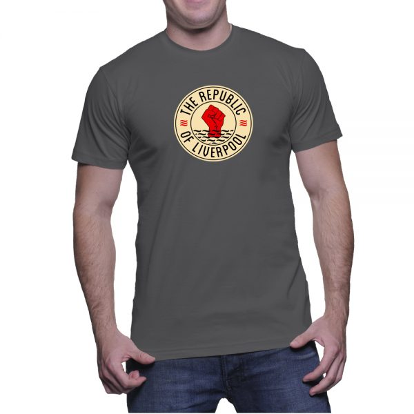 Grey Republic of Liverpool T-shirt with beige logo